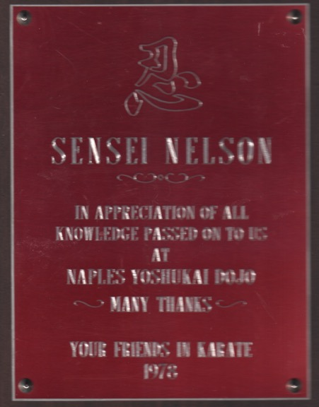 Sensei Nelson Thanks 1978