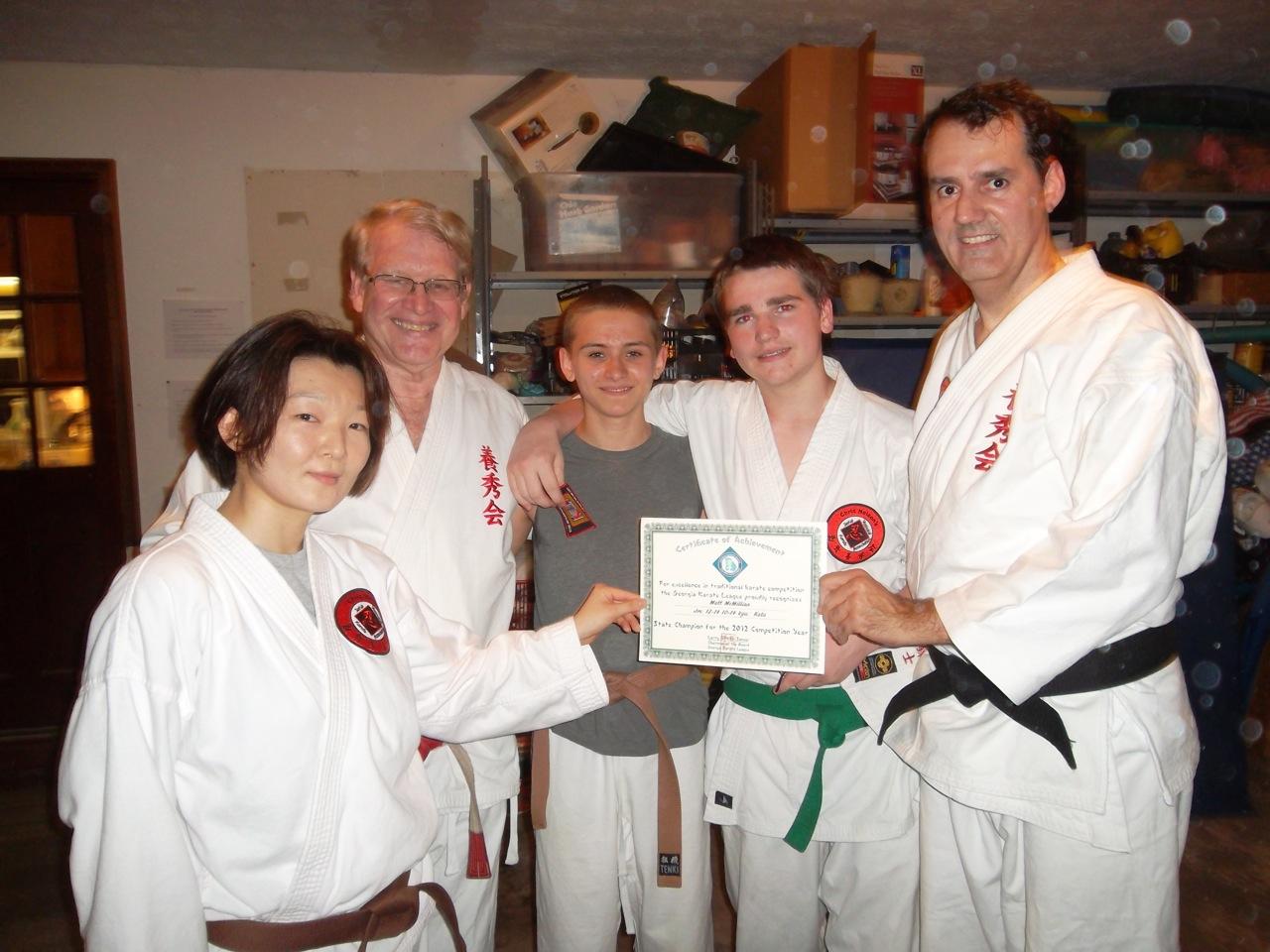 Matt awarded 2012 state champion