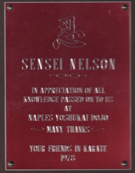 Sensei Nelson Thanks 1978